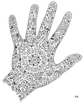 Mandala en forme de main ghislain b dard - Pouf en forme de main ...